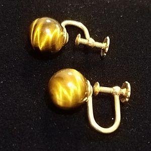 Tiger eye screwback earrings